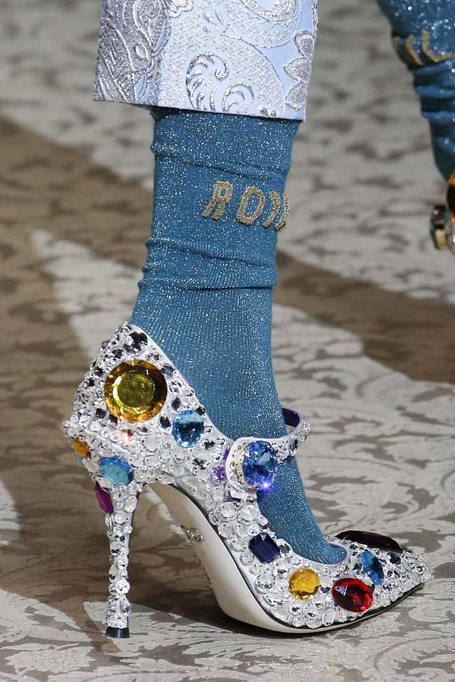 fashion socks dolce gabbana-fall-winter-2018-fw18-latest-shoe-styles-statement-socks-shining