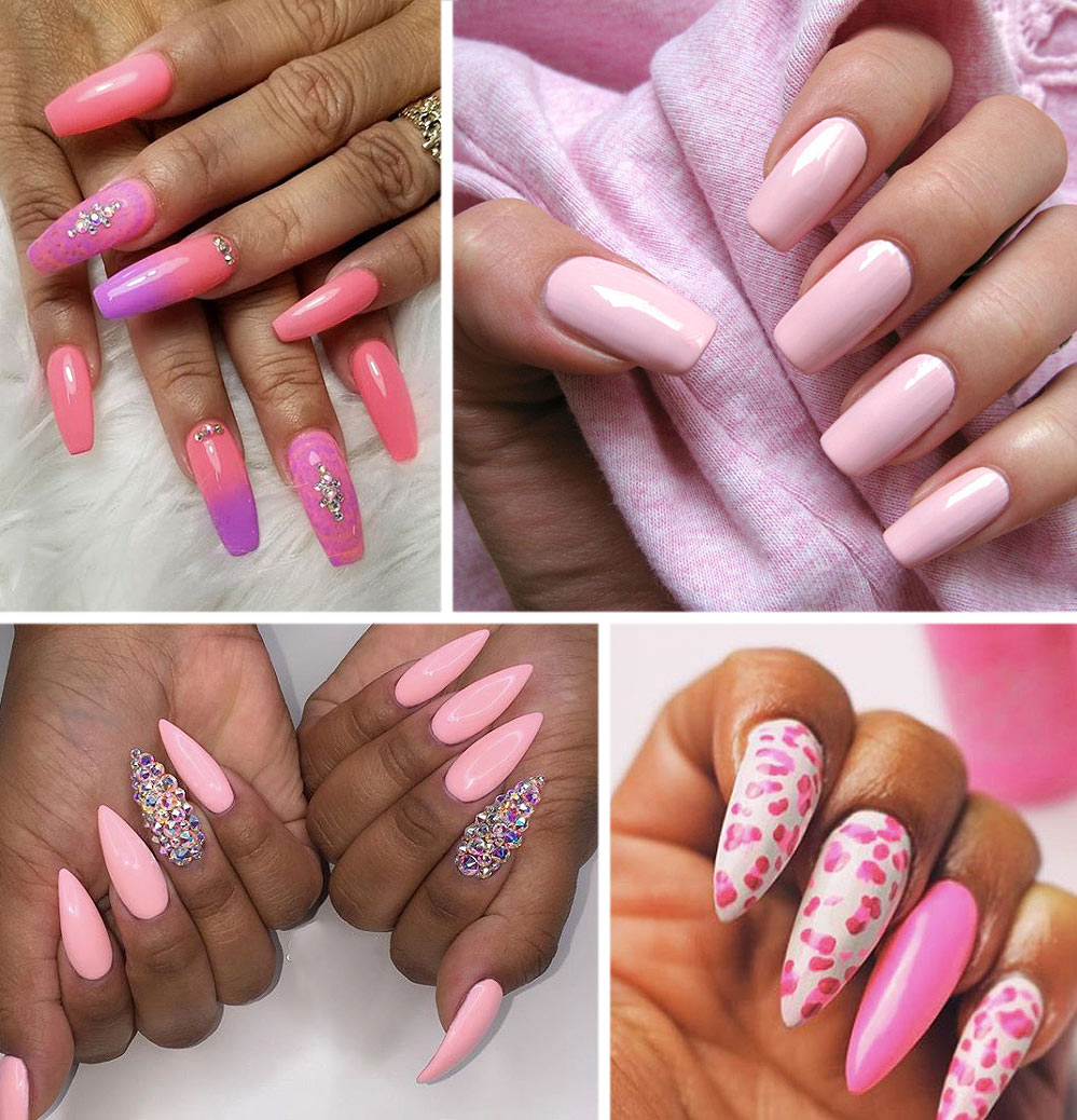 Pink Fake Nails Acrylic Color Ideas Designs