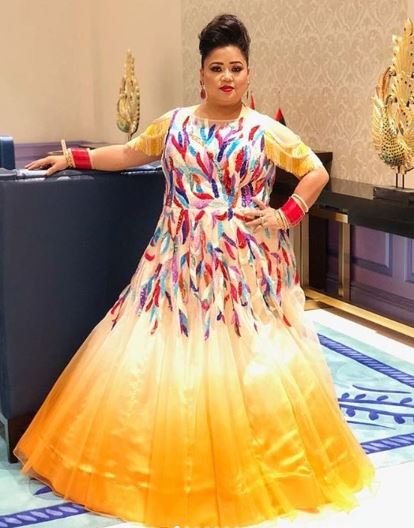bharti-singh-ombre-yellow-white-gown-fringes