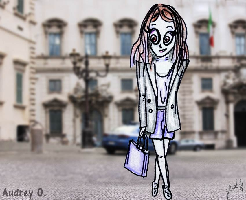 audrey-o-travel-cartoon-girl-fashion-style-fun-comic-rome-street-