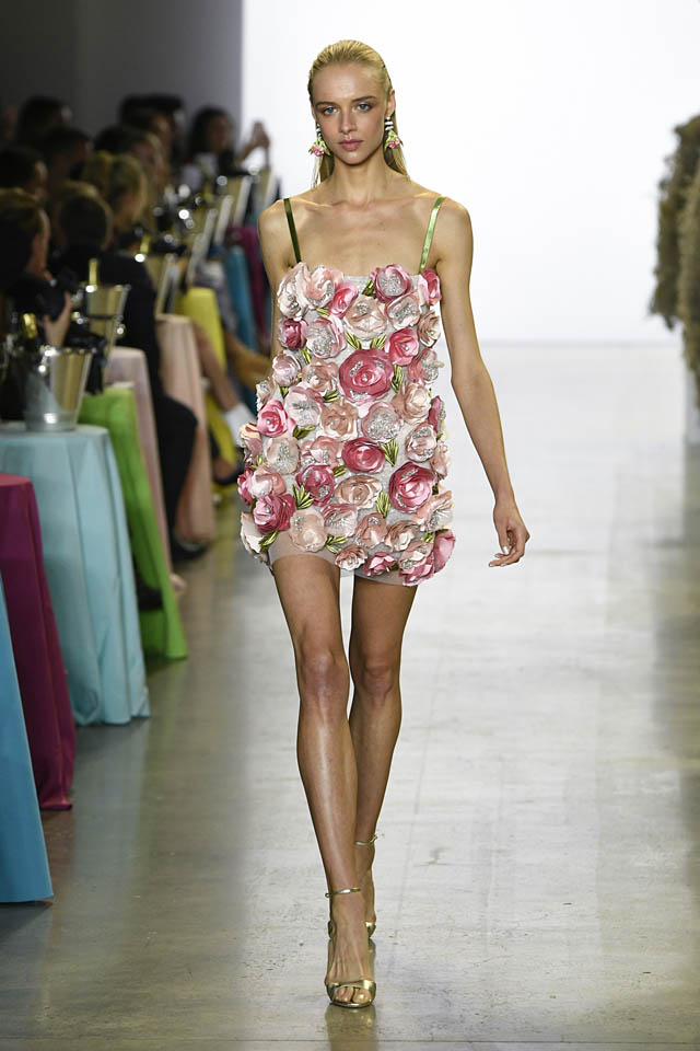 badgley-mischka- mini flower applique dress spring summer 2019 nyfw ss19