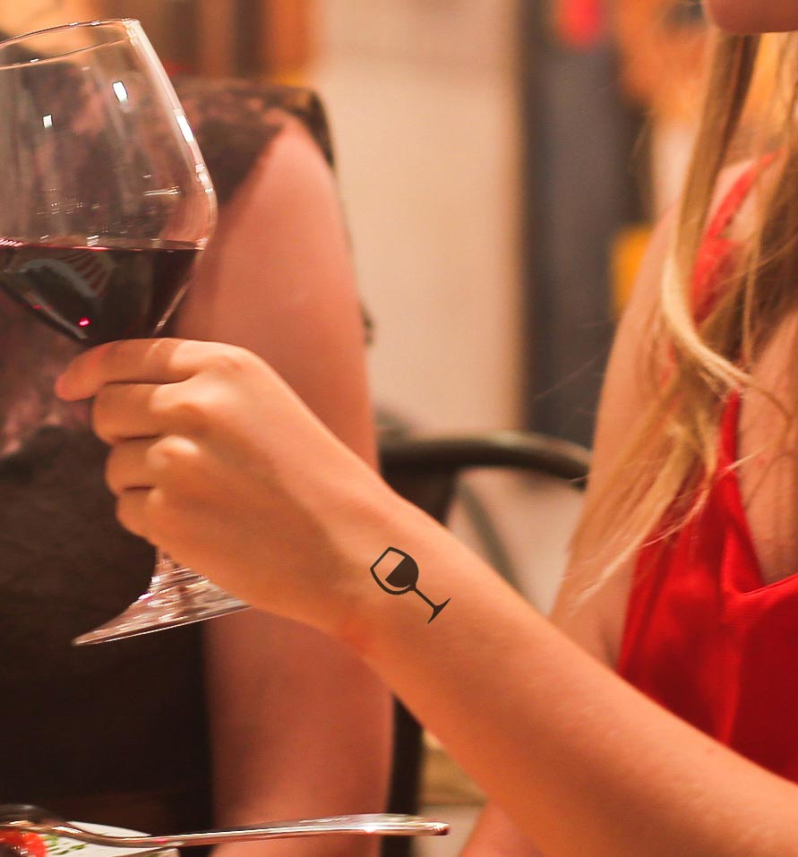 tattoos for wine lovers food drink minimal black small hand wrist ideas