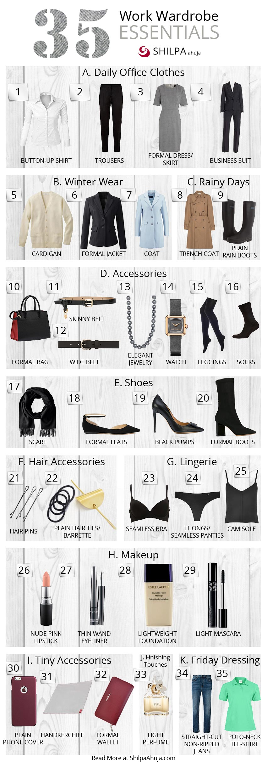 work-wardrobe-essentials-infographic office womens fashion style must haves