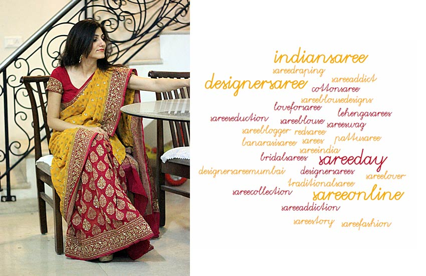 Indian saree sari Instagram hashtags ethnic desi style dresses wear trending