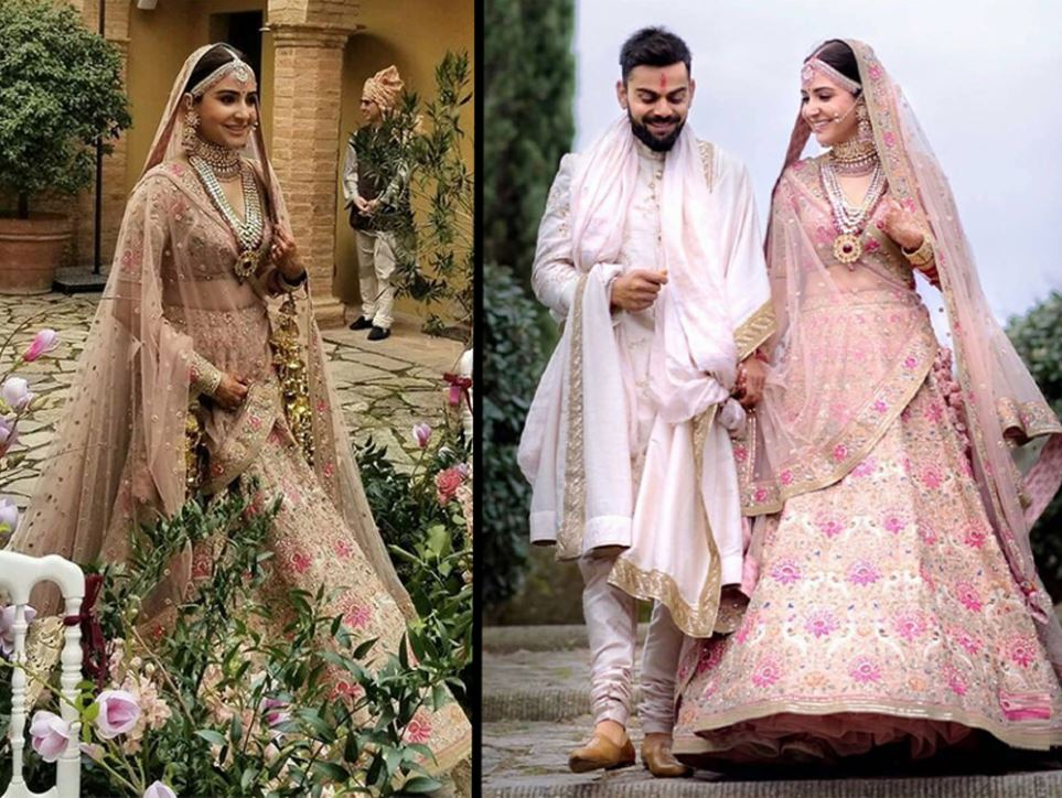 anushka sharma bollywood virat kohli wedding pink lehenga