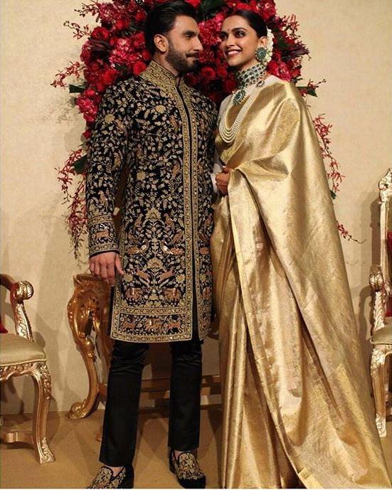 deepika padukone bollywood wedding ranveer singh gold saree reception