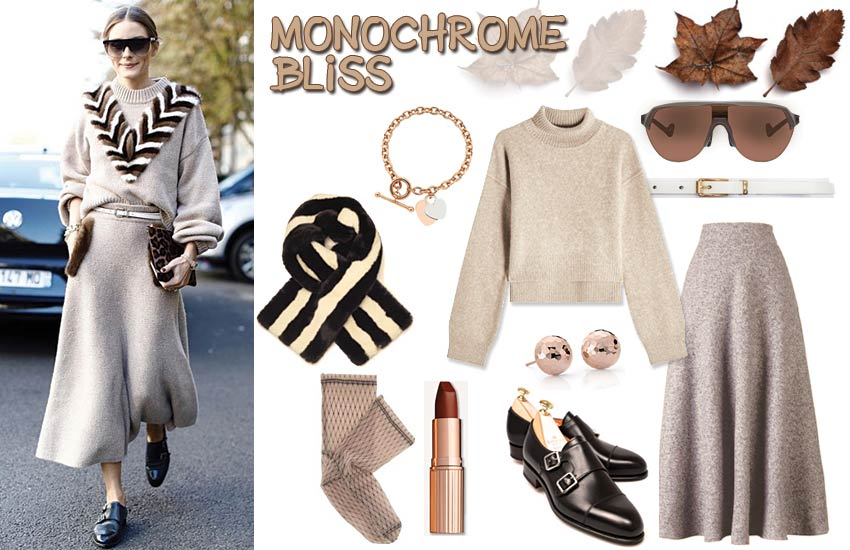 how to wear skirts in fall outfit ideas monochromatic olivia-palermo
