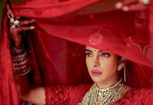 Priyanka Chopra nick Jonas dulhan dress red lehenga designer