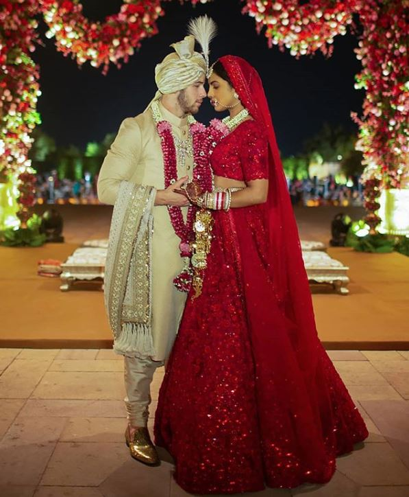 Priyanka Chopra nick Jonas wedding dress bollywood actress red lehenga