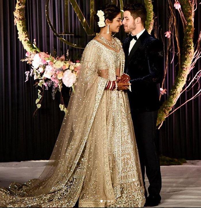 Priyanka Chopra nick Jonas wedding reception bollywood marriage dress
