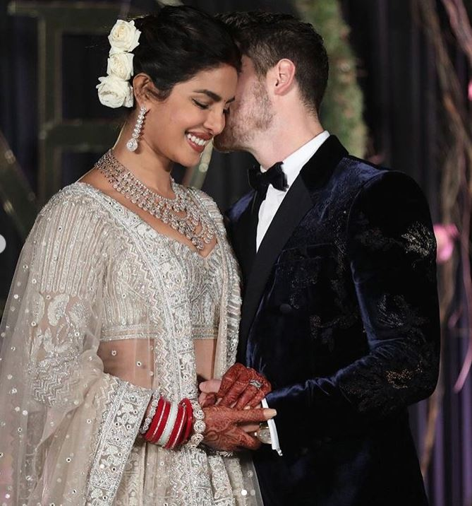Priyanka Chopra nick Jonas wedding reception marriage dress