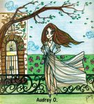 audrey-o cartoon-girl-fashion-illustration-gown-fall-leaves-comic-strips-