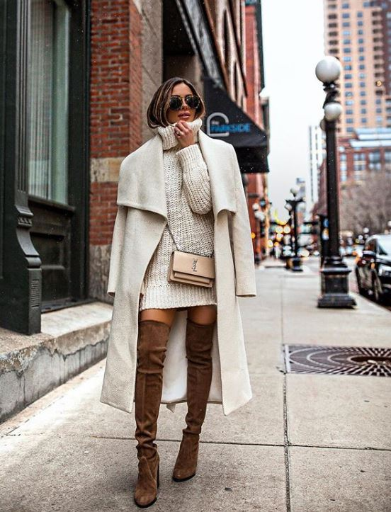 how to style winter outfits coats sweater dress Maria Vizuete