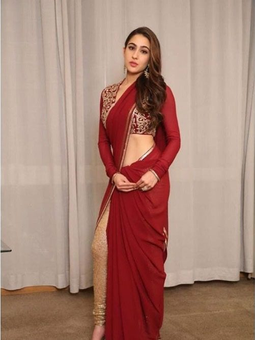 Abu Jani Top Saree Trends 2019 Thin Border Sara Ali Khan