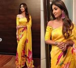 House of Masaba Latest Saree Trends 2019 Large Prints Shilpa Shetty