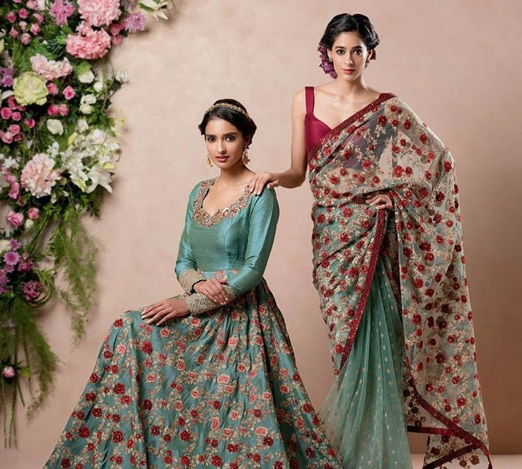 Falguni Shane Peacock Latest Saree Trends 2019 Net Applique