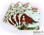 artist tea coaster set cartoon audrey o comics