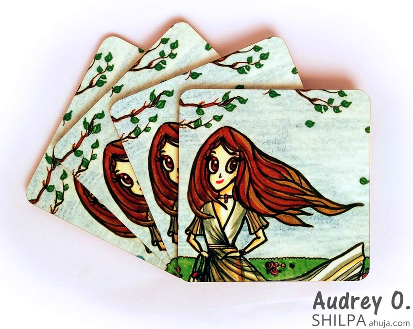 artist tea coaster set cartoon audrey o comics