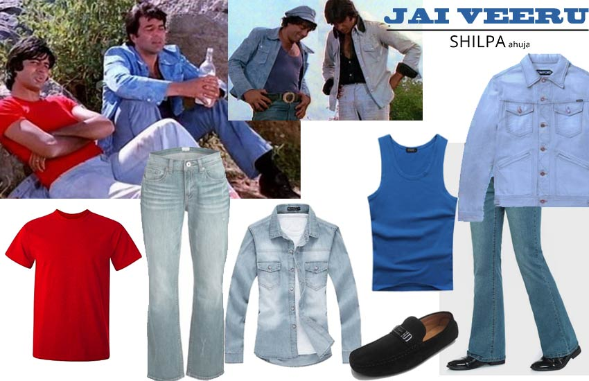 bollywood theme dress up for couple male jai-veeru