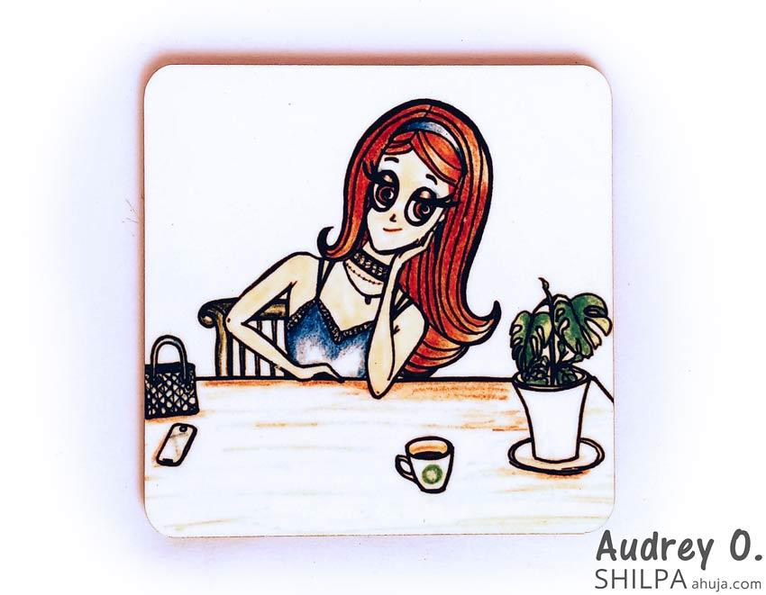 coffee coaster online art cartoon audrey o comics blogger
