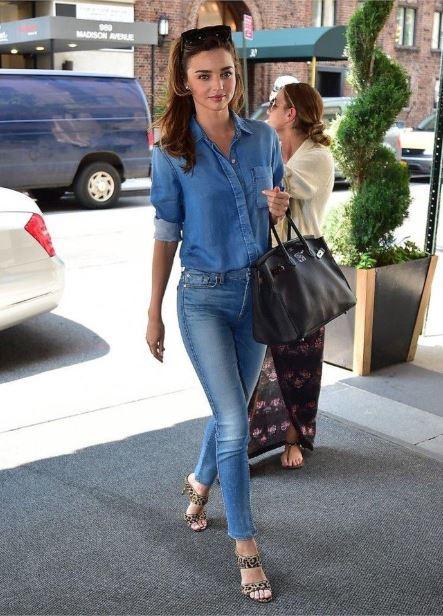 denim shirt - miranda kerr - leopard print - skinny jeans