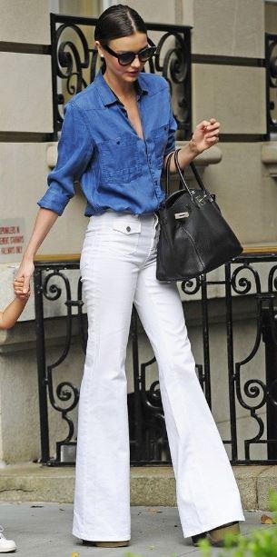 denim shirt womens - bell bottom jeans- sleek hair - clogs for women