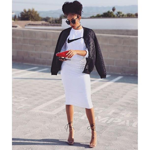 high waisted pencil skirt- bomber jacket - nike t shirt - fashion blogger