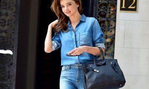 how to wear a denim shirt miranda kerr celeb style street casual