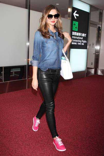 leather pants - denim shirt for women - pink sneakers