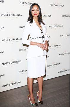 lily james - white blazer top for women - pencil skirt for women