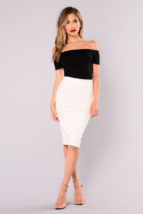 pencil skirt off shoulder top
