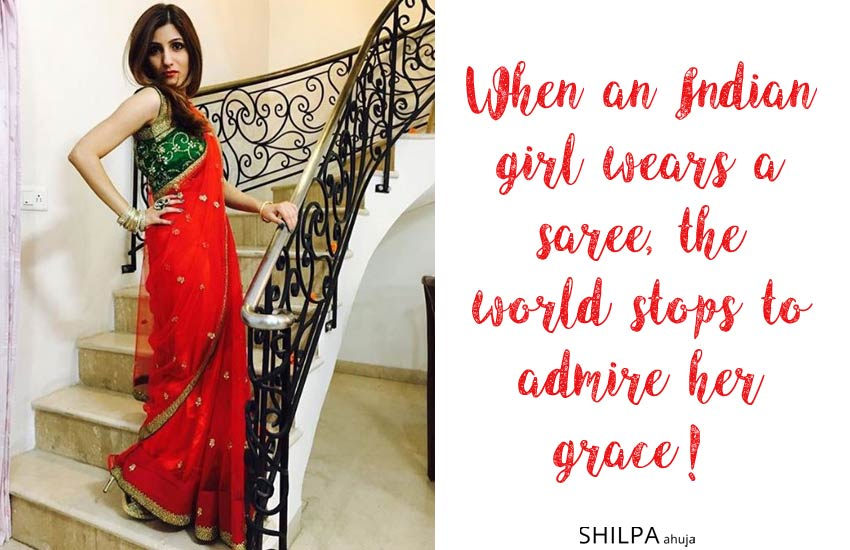 shilpa-ahuja saree quotes for instagram captions ethnic