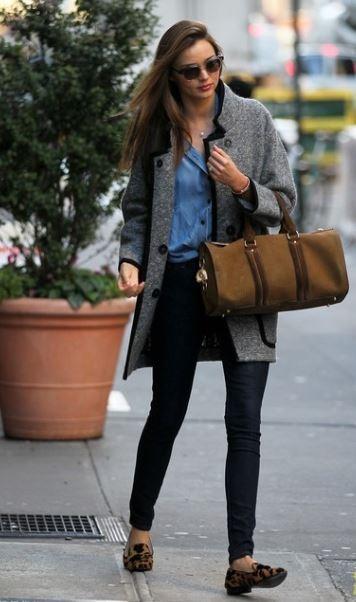 skinny black jeans - sweater jacket - denim shirt - ladies fashion - miranda kerr