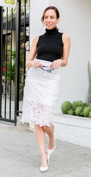 turtle neck top - whoite lace skirt - white heels - crop tops