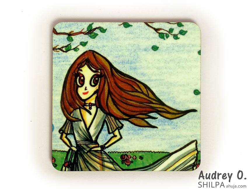 womens tea coasters online art cartoon audrey o comics