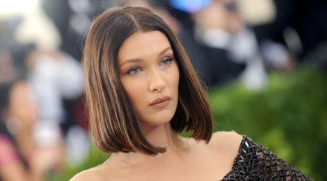 bella hadid asymmetric bob haircut for women short round face