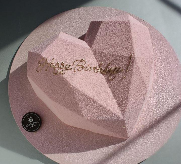 Latest Birthday Cake Trends 2019 Geometric Pink nivskaya