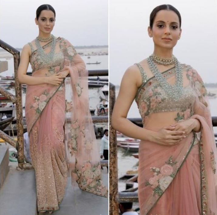 Kangana Ranaut Latest Saree Color Trends 2019 Blush Pink Celebs.JPG
