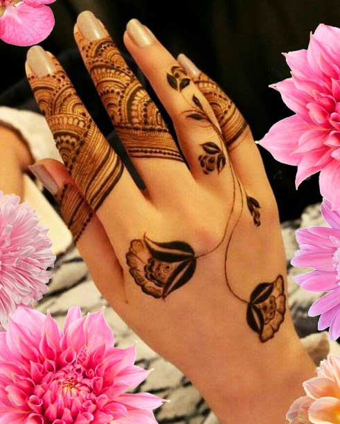 Latest Mehendi Designs Beautiful Trends for Girls flower stems