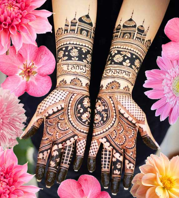 Latest Mehendi Designs Beautiful Trends for Girls taj mahal roses