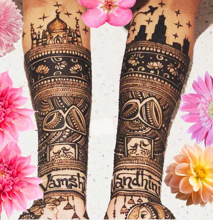 Latest Mehendi Designs Beautiful Trends for Girls taj mahal weddin bridal
