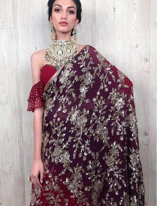 Suneet Varma Top Saree Color Trends 2019 Ruby Red