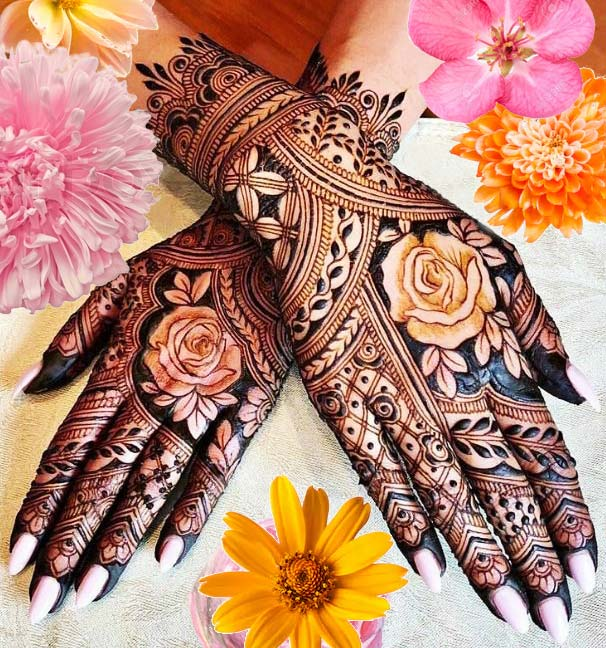 arabic mehendi designs for girls wedding rose
