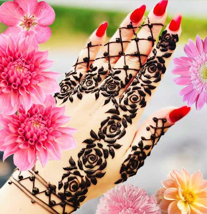 simple mehendi design front hand girls shadi dejain roses