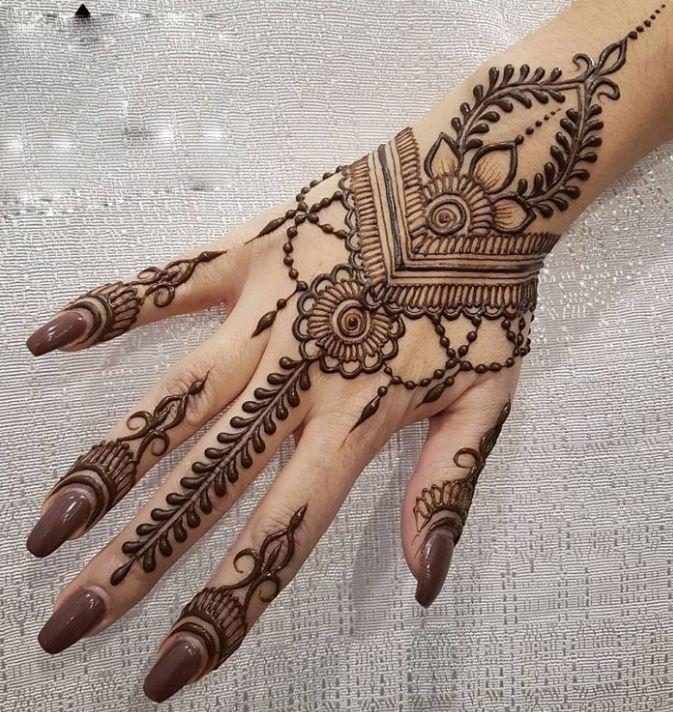 simple mehendi design jewellery dejain girls wedding