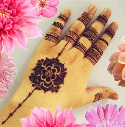 simple mehndi designs for hands rings