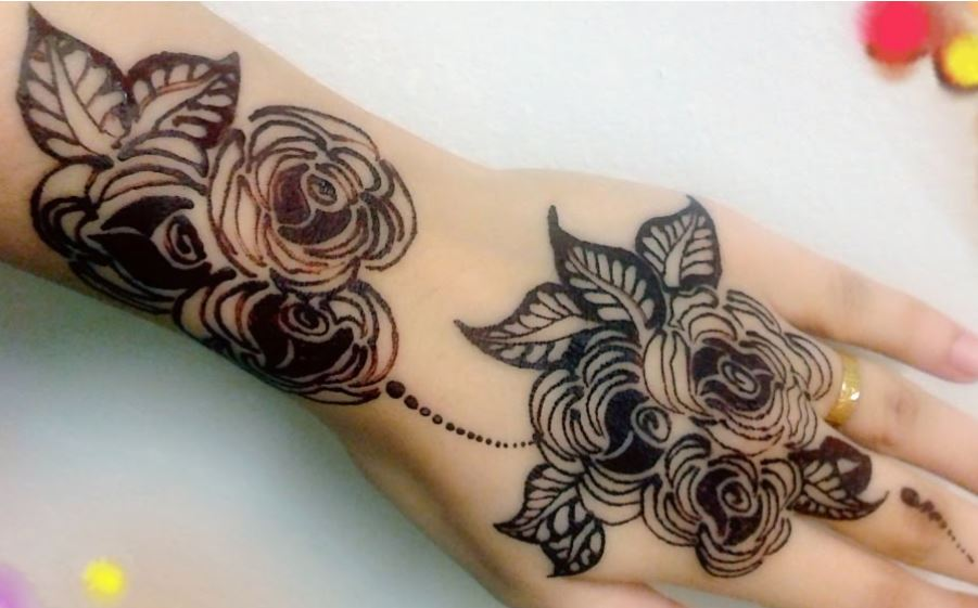 simple mehndi designs for hands roses