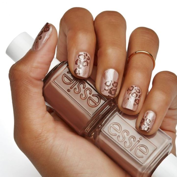 latest Nail Art Ideas 2019 essie half animal print