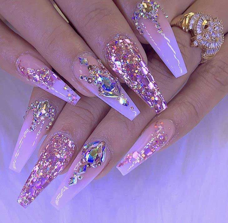 top-Nail-Design-ideas-for-spring-2019-pachekedg--glitter-with-rhinestones-OTT