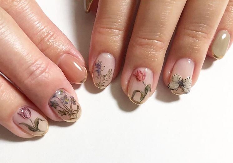 top Nail Design ideas summer 2019 organic inspired botanical on naked nails